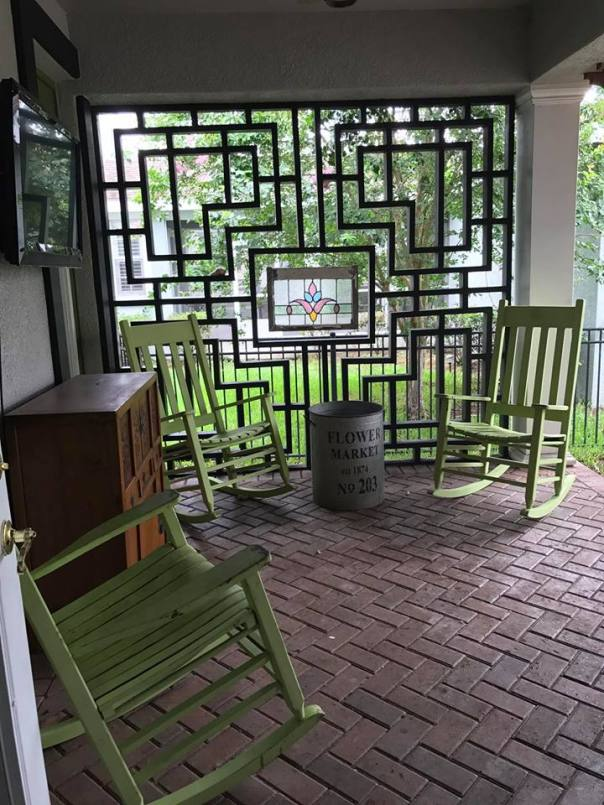 asian inspired wall and herringbone pavers