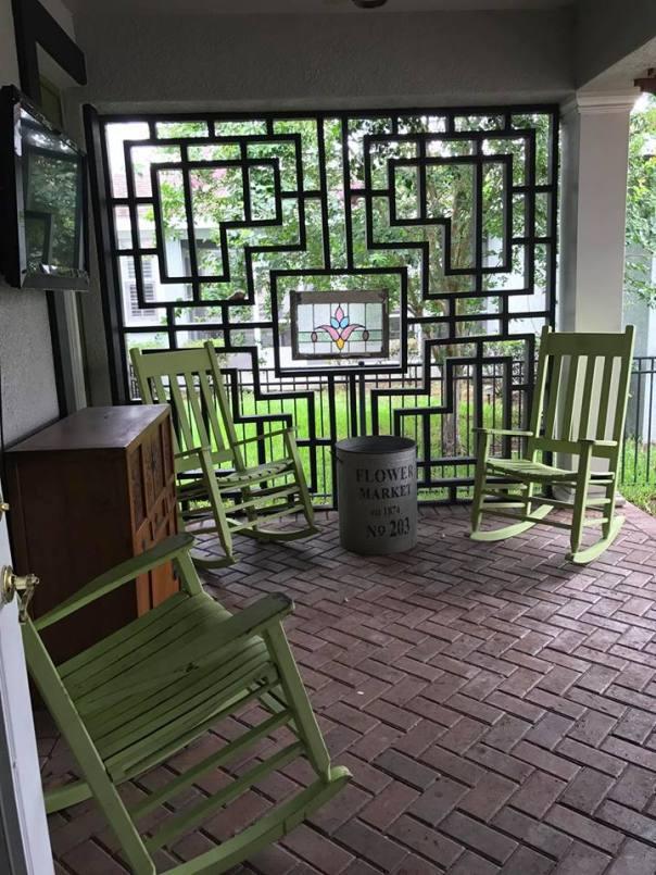 asian inspired wall and herringbone pavers