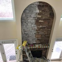 painting stone fireplace