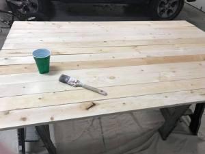stain headboard
